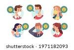 men  women in masks talking... | Shutterstock .eps vector #1971182093