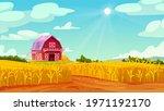 farm barn house on yellow wheat ...   Shutterstock .eps vector #1971192170