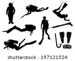 set of divers and diving... | Shutterstock .eps vector #197121524