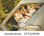 a man and two women in the... | Shutterstock . vector #197124944