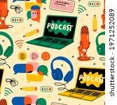 headphones  microphone  laptop  ... | Shutterstock .eps vector #1971252089
