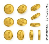 ripple gold coins set isolated... | Shutterstock .eps vector #1971272753