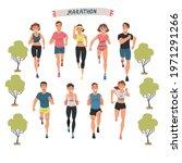 cheerful people running... | Shutterstock .eps vector #1971291266