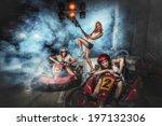 girl is driving go kart with... | Shutterstock . vector #197132306