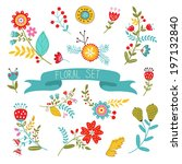 beautiful collection of floral...   Shutterstock . vector #197132840