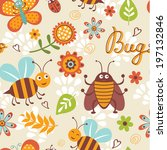 cute bugs colorful seamless... | Shutterstock . vector #197132846