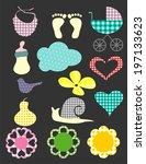 funny scrapbook baby set | Shutterstock .eps vector #197133623