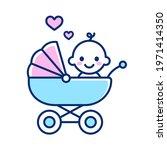 cute newborn baby in stroller.... | Shutterstock .eps vector #1971414350