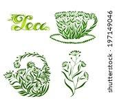 set of decorative ornament tea | Shutterstock .eps vector #197149046