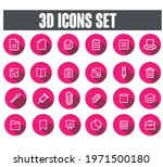 3d icons set vector with pink...