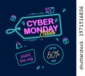 neon concept sales poster for... | Shutterstock .eps vector #1971516836