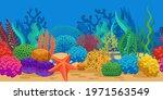 coral seamless border. ocean... | Shutterstock .eps vector #1971563549