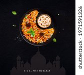 Small photo of Eid Mubarak (Blessing for Eid): A Creative poster for Eid with Moon and iftar meal together.