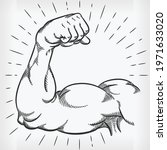 sketch strong arm muscle... | Shutterstock .eps vector #1971633020