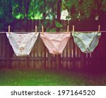 Stock photo panties hanging on the line outside done with a retro vintage instagram filter 197164520