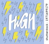 high energy. hand drawn sticker ... | Shutterstock .eps vector #1971699179