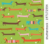 Cute dachshunds seamless pattern - stock vector