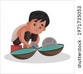 boy is doing construction work. ... | Shutterstock .eps vector #1971735053