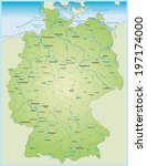 map of germany with lakes and... | Shutterstock .eps vector #197174000