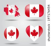 canada flag set in map  oval ... | Shutterstock .eps vector #197176454