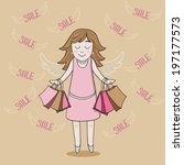 smiling girl in pink with wings ... | Shutterstock . vector #197177573