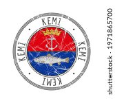 Kemi city, Finland. Grunge postal rubber stamp over white background