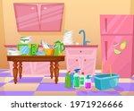 mess in kitchen cartoon vector...   Shutterstock .eps vector #1971926666
