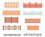 vintage wooden fences vector... | Shutterstock .eps vector #1971927323