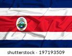 Costa Rica Flag On A Silk Drape ...