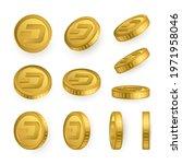 dsh. dash gold coins set... | Shutterstock .eps vector #1971958046