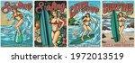 Ocean Surfing Vintage Colorful...