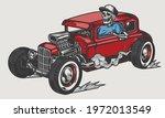 skeleton driving red hot rod in ... | Shutterstock .eps vector #1972013549