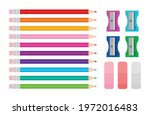 color pencil  eraser  and... | Shutterstock .eps vector #1972016483