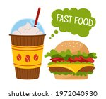 fast food burger and soda... | Shutterstock .eps vector #1972040930