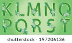 alphabet with green floral... | Shutterstock .eps vector #197206136