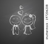 hand drawn wedding couple on a... | Shutterstock . vector #197206208