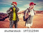 backpacking people. young... | Shutterstock . vector #197212544