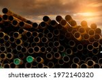 Pile Of Old Rusty Round Metal...
