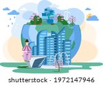 woman sitting near globe with...   Shutterstock .eps vector #1972147946