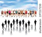 set of running people... | Shutterstock .eps vector #197217233