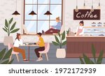 cozy and relaxing coffee shop... | Shutterstock .eps vector #1972172939