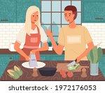 couple preparing salad. proper...   Shutterstock .eps vector #1972176053