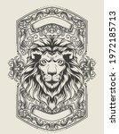 illustration vector lion head... | Shutterstock .eps vector #1972185713