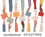 arms of diverse people holding... | Shutterstock .eps vector #1972277993