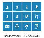chess icons on blue background. ...