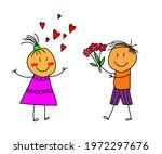 Children In Love. Boy And Girl...