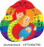 gay female couple of two...   Shutterstock .eps vector #1972306700