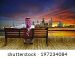 a man looking at the cityscape... | Shutterstock . vector #197234084