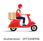 express delivery. male courier ... | Shutterstock .eps vector #1972348946