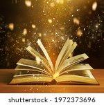 Magical Open Antique Book Over...